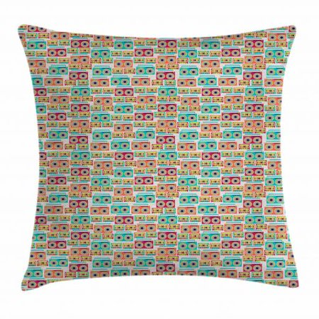 Hipster Throw Pillow Cushion Cover, Pattern with Tape Recorders and Audio Cassettes Old Music Sound Technology Funky, Decorative Square Accent Pillow Case, 24 X 24 Inches, Multicolor, by
