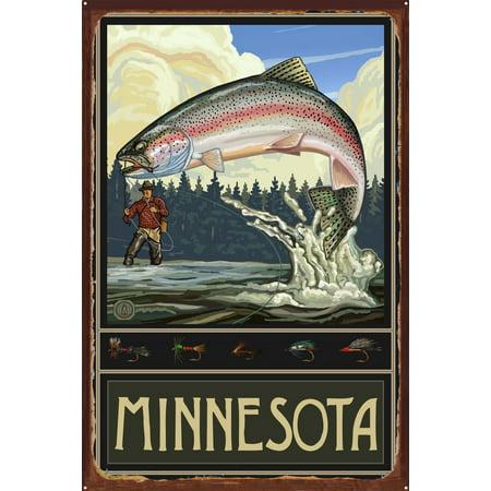 Minnesota Rainbow Trout Fisherman Forest Rustic Metal Art Print by Pa