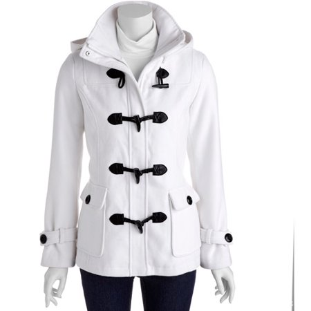 4aac34ce31c George - George - Women s Faux Wool Toggle Front Coat with Removable Hood -  Walmart.com