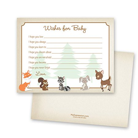 48 cnt Woodland Animals Baby Wish card - image 1 of 3