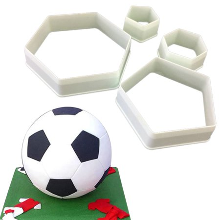 Football Hexagon Cookie Cutters Set- 4 Size -DIY Cake Decoration Fondant Mold ()