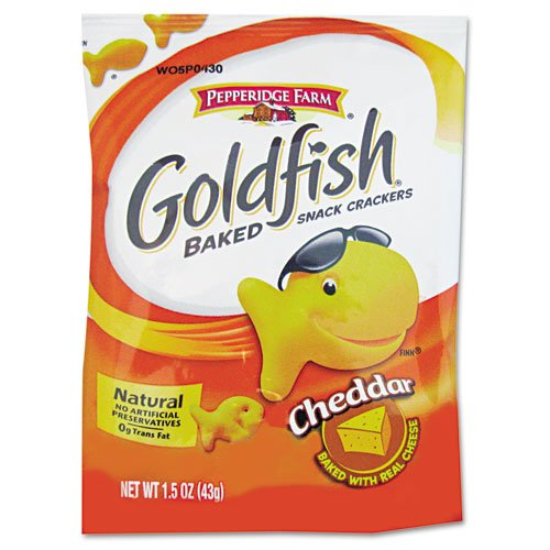 Goldfish Pepperidge Farm Goldfish Shaped Crackers - Fat-free - Cheddar - 1 Serving Bag - 1.50 Oz - 72 / Carton (MJK13539)