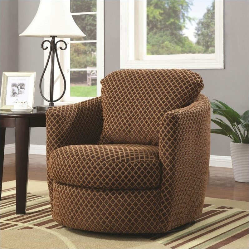 Coaster Company Diamond Pattern Swivel Chair, Brown