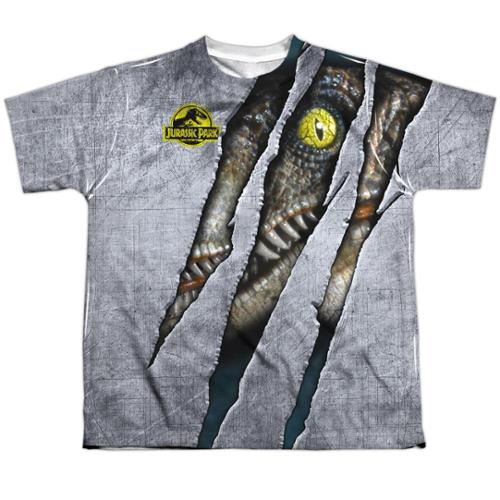 Jurassic Park Live Raptro Big Boys Sublimation Shirt White MD