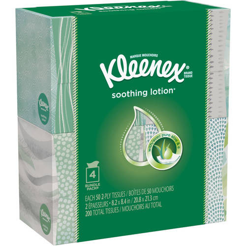 Kleenex Facial Tissues with Lotion, 50 Ct, Pack of 4