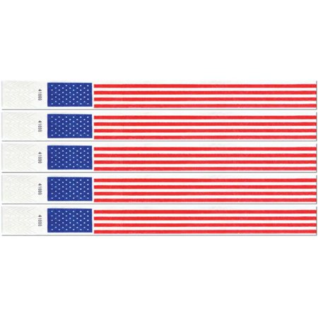 Tyvek Event Wristbands - Patriotic Tyvek Wristbands (Pack of 6)