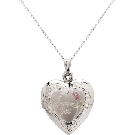 Roses Locket Necklace - Sterling Silver