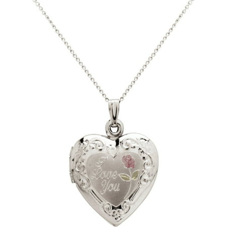 "Sterling Silver ""I Love You"" Heart And Painted Rose Locket Necklace, 18"""