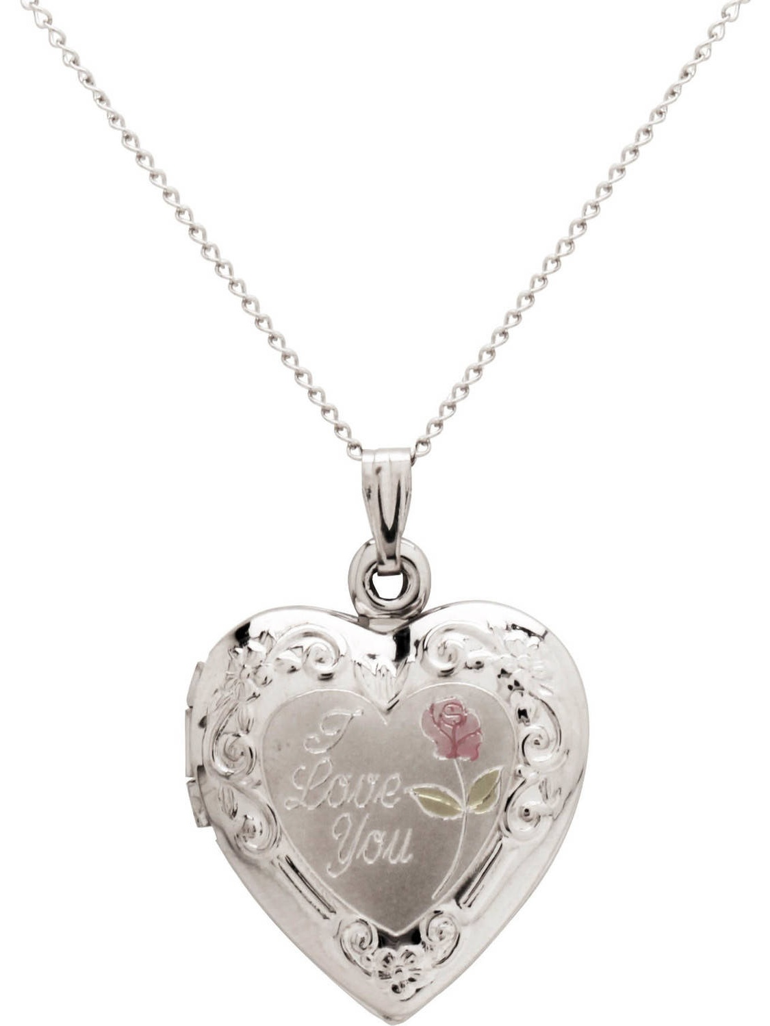 "Heart-Shaped ""l Love You"" and Painted Rose Locket in Sterling Silver, 18"""