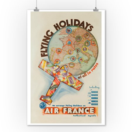 Air France - Flying Holidays Vintage Poster (artist: Holz) France c. 1936 (9x12 Art Print, Wall Decor Travel Poster) (Faux Holz Sonnenbrille)