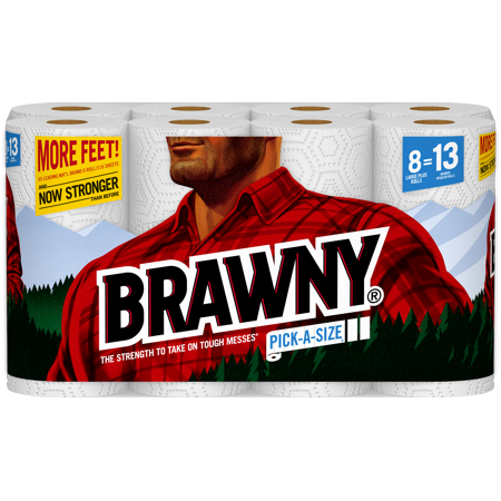 Brawny Paper Towels, Pick-A-Size, 8 Large Plus Rolls