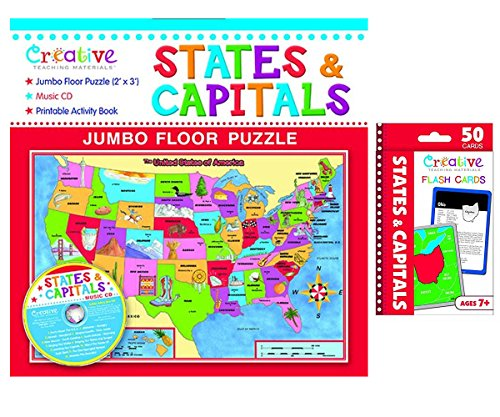photograph about States and Capitals Flash Cards Printable called Resourceful Coaching Elements Says Capitals Jumbo surface area Puzzle and Claims  Capitals Flash Playing cards