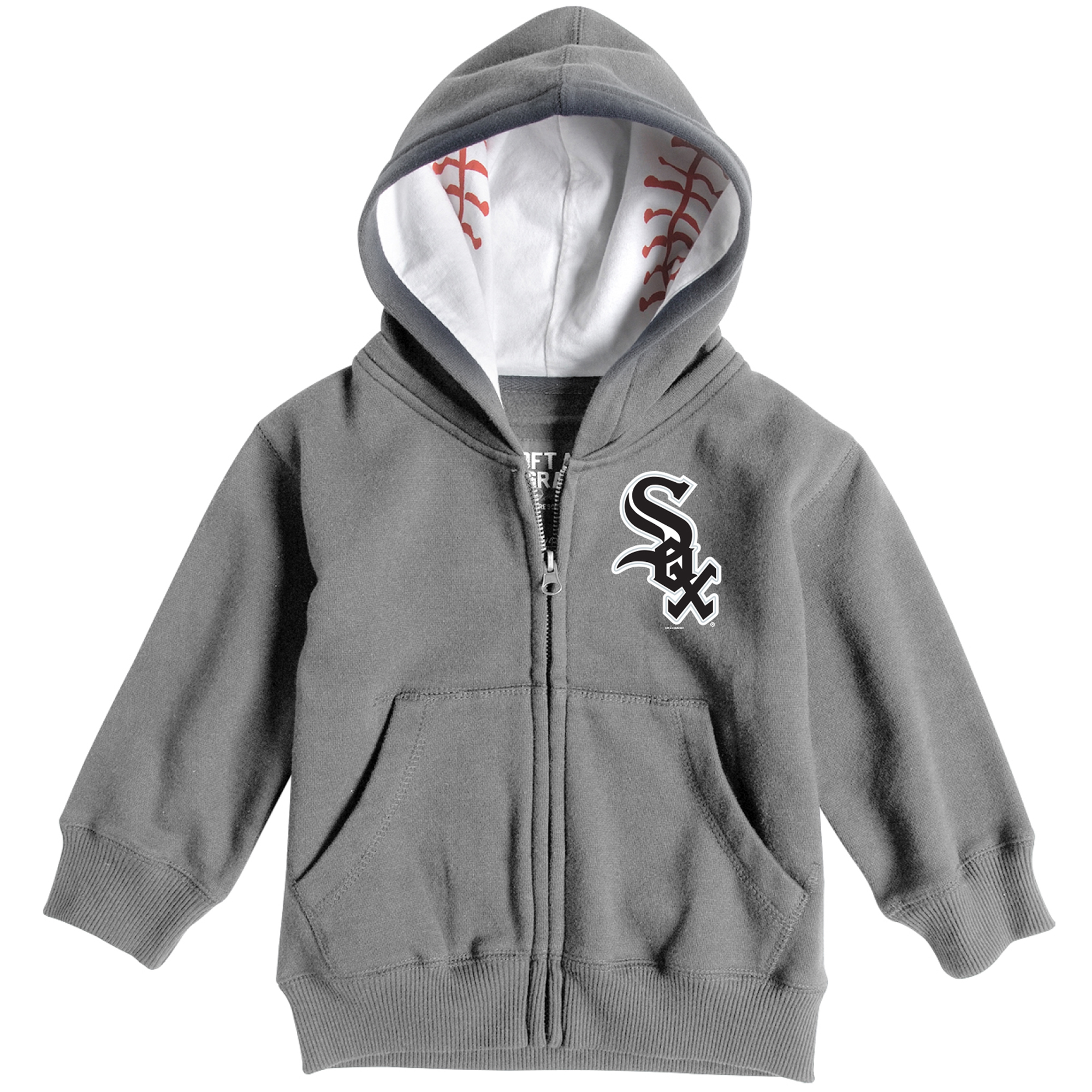 Chicago White Sox Soft as a Grape Toddler Baseball Print Full-Zip Hoodie - Heathered Gray
