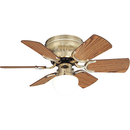 westinghouse petite ceiling fan and light, antique brass - walmart