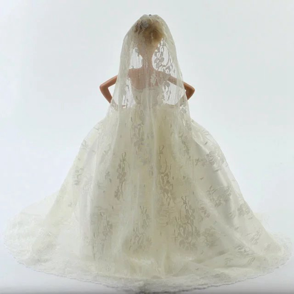 White Fashion Gorgeous Wedding Bridal Gown Dress with Veil For Doll Gift - image 1 of 4