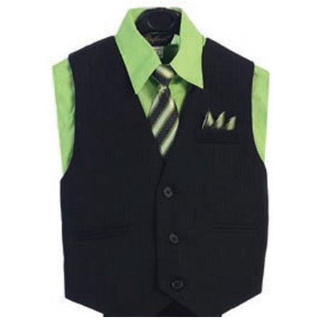 Angel Vest (Angels Garment Lime Green 4 Piece Pin Striped Vest Set Boys Suit 5-20)