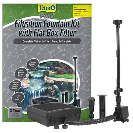 Tetra Pond Filtration Fountain Kit with Submersible Flat Box Filter FK5 - 325 GPH - For Ponds up to 250 (Tetra Submersible)