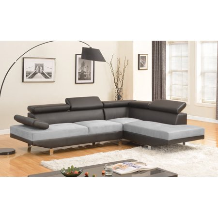 Modern Contemporary Faux Leather, Mircrofiber Sectional Sofa, Black/Grey ()