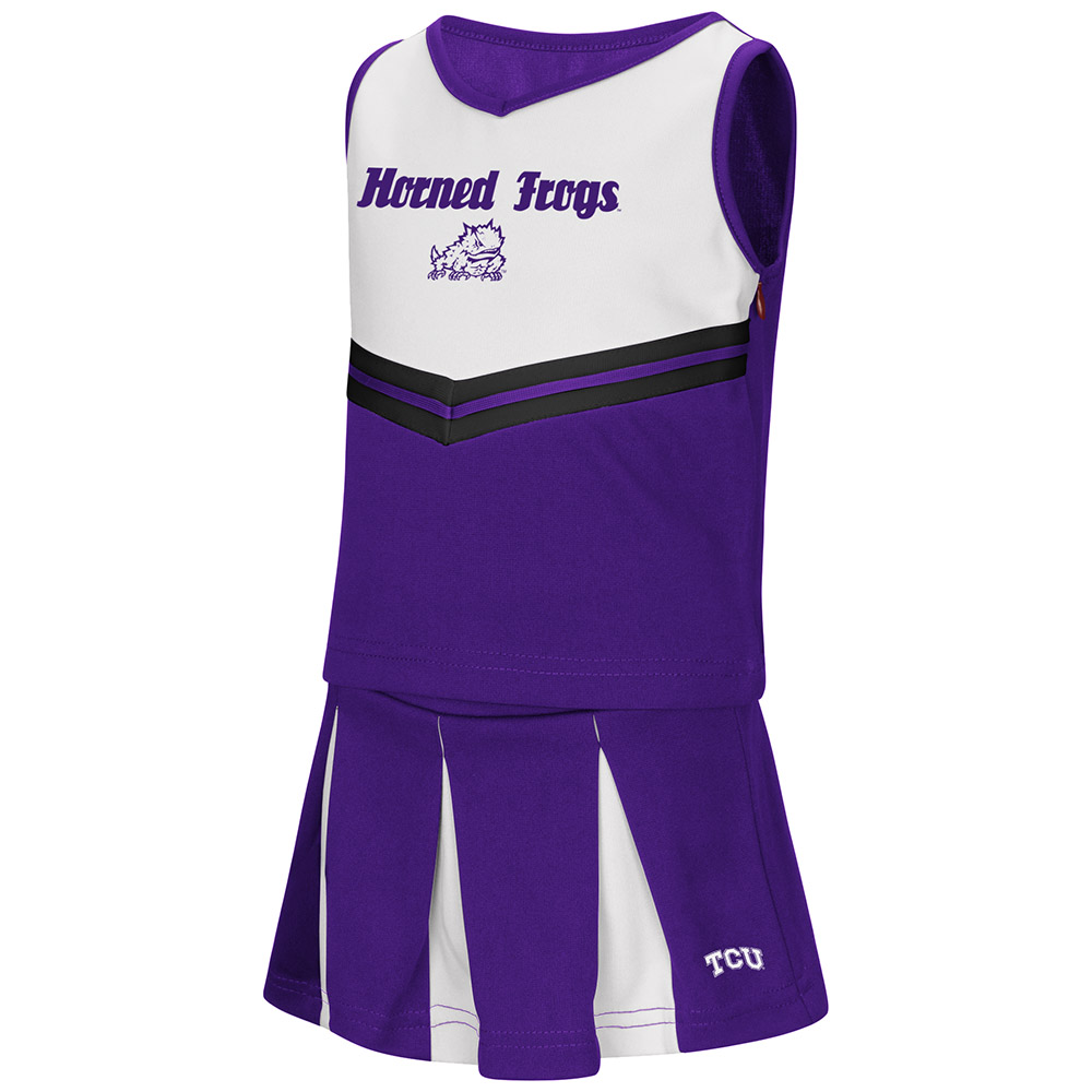 """TCU Horned Frogs NCAA Toddler """"Pom Pom"""" 2 Piece Set Cheerleader Outfit"""