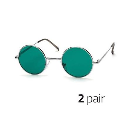 2 PAIR John Lennon Style Vintage Classic Circle Round Sunglasses Men Women (Shades And Style Sunglasses)