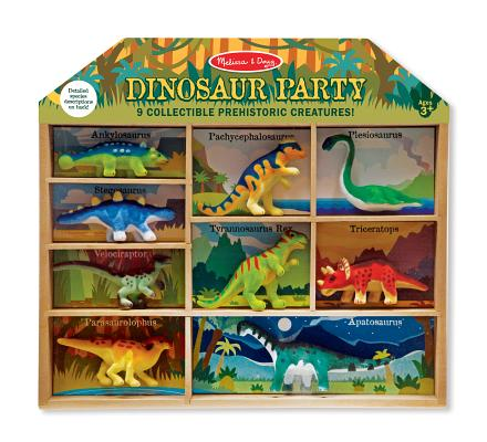 Dinos Miniatures Toob (Melissa & Doug Dinosaur Party Play Set, 9 Collectible Miniature Dinosaurs in a Case )