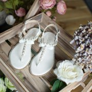 SheSole White T-Strap Buckle Flat Sandals for Women Pearls Beach Wedding Shoes