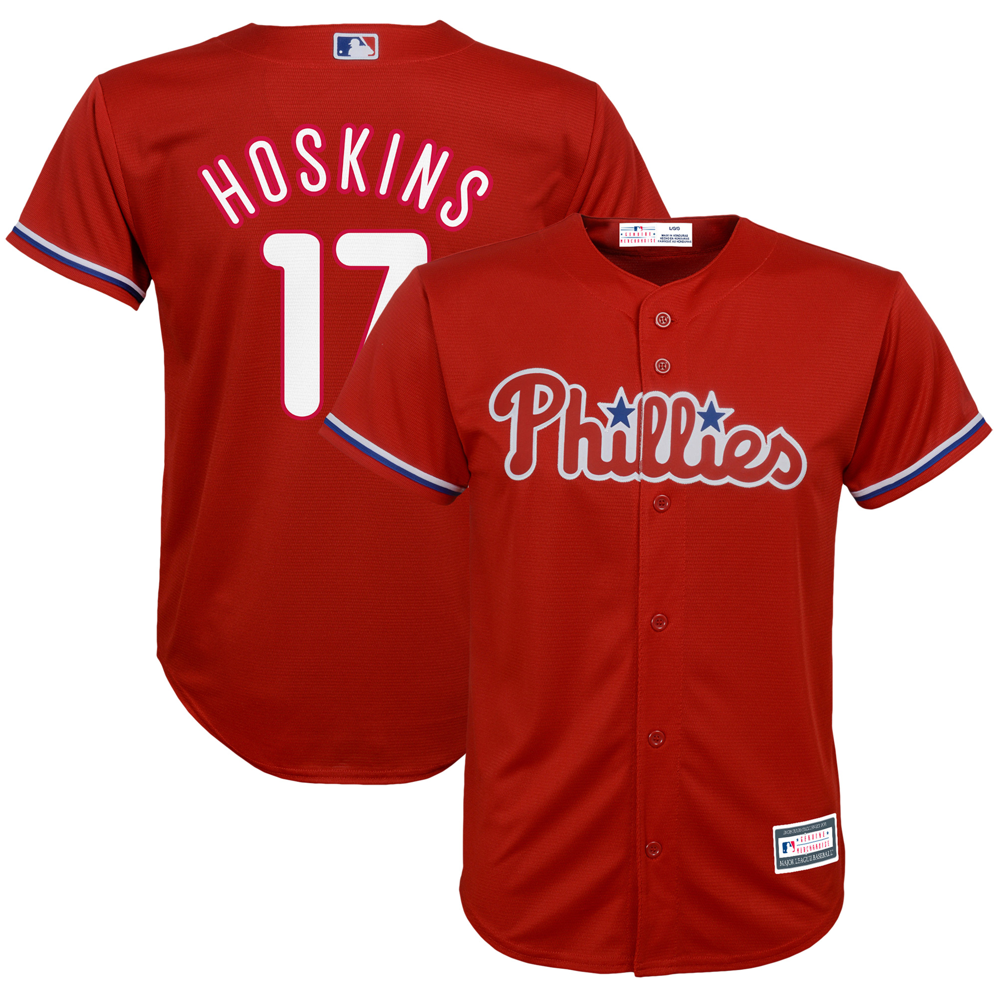 Rhys Hoskins Philadelphia Phillies Youth Player Replica Jersey - Red