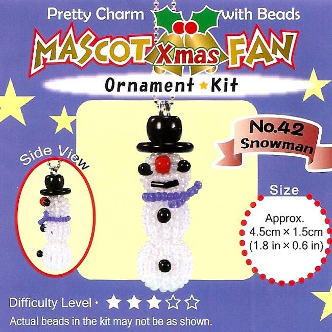 Create Your Own Miyuki Mascot Bead Charm Christmas Ornament Kit - Snowman