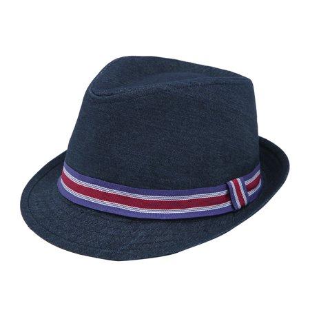Premium Jeans Fabric Striped Band Fedora Hat - Striped Fedora