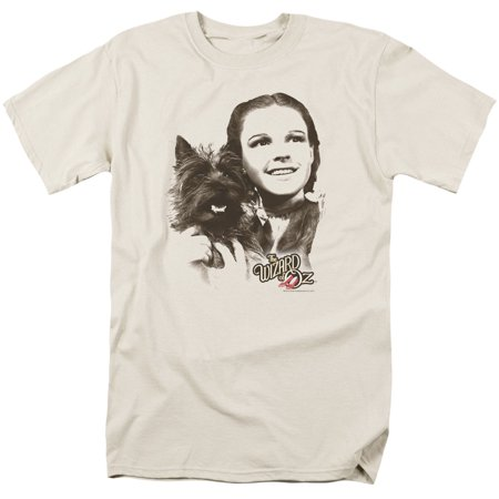 Wizard Of Oz Dorothy & Toto Mens Short Sleeve Shirt (Cream, Large) (Toto From Wizard Of Oz)