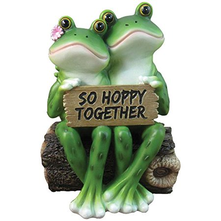 Romantic Lover Frog Wedding Couple Sitting On Log Figurine Collectible Eternal Happiness Sculpture Bridal Anniversary (Metal Frog Sculpture)