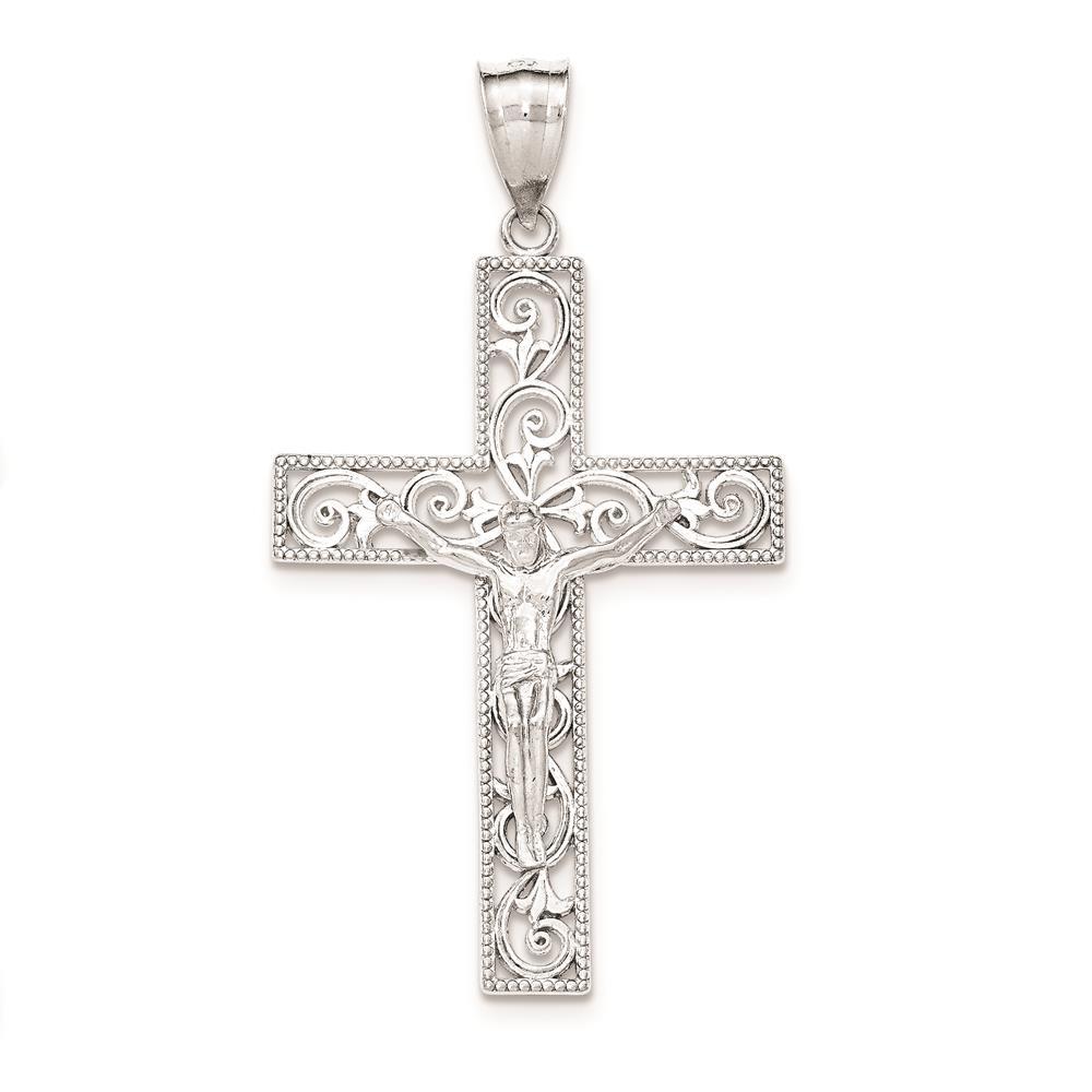 925 Sterling Silver Polished Beaded Filigree INRI Crucifix Charm Pendant