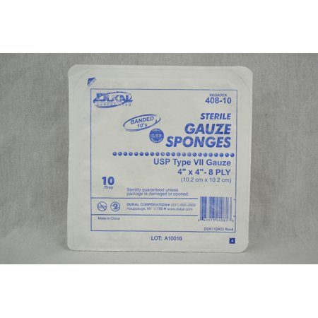 Sterile Gauze Sponges 4x4 8 ply-Tray of 10