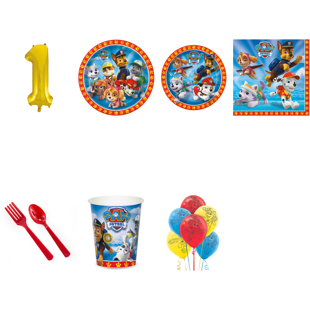 PAW PATROL PARTY SUPPLIES PARTY PACK FOR 32 WITH GOLD #1 BALLOON