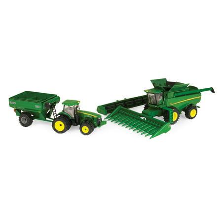 John Deere Harvesting Set Toy Tractor & Grain Cart 1:64 Scale