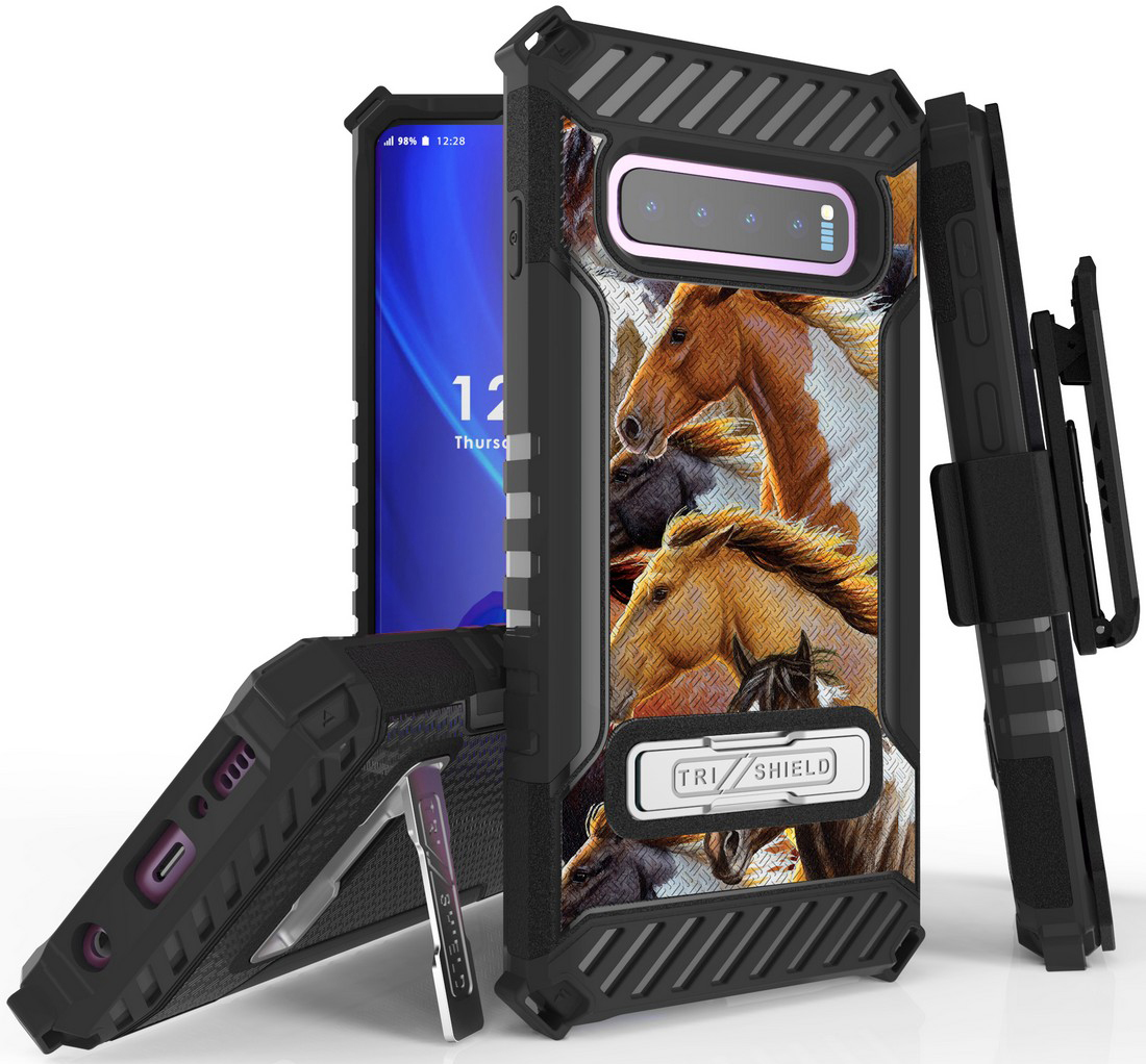 Tri-Shield [ADORABLE ANIMAL SERIES] Rugged Case Metal Kickstand Cover + Belt Clip Holster [CRITTER DESIGN] for Samsung Galaxy S10 Phone (SM-G973)