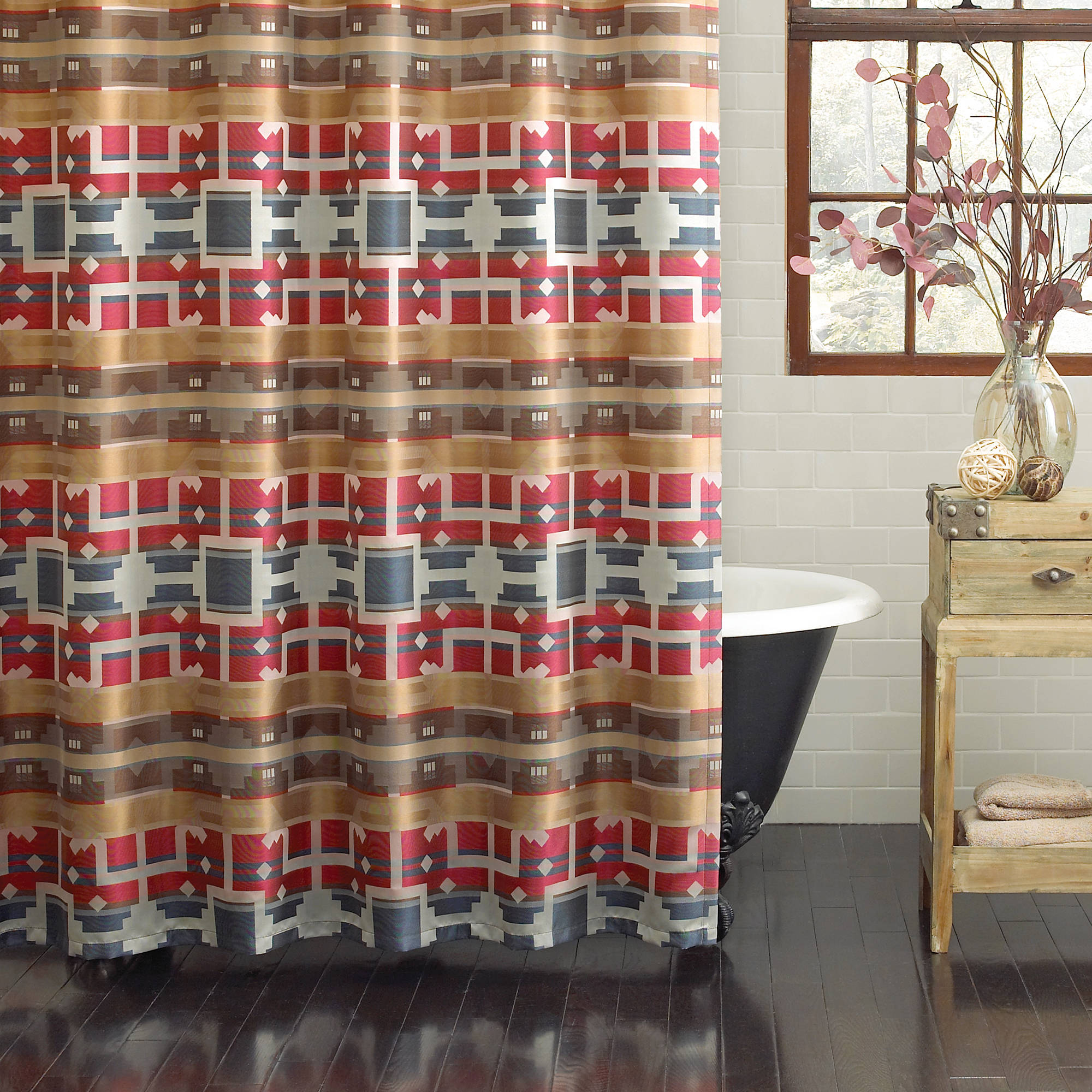 "Excell Minnetonka 70"" x 72"" Fabric Shower Curtain, Multi-Colored"