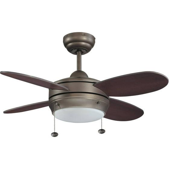 Litex Industries Maksim 36 Dual Mount Ceiling Fan Espresso Finish Single Light Kit With 4 Blades
