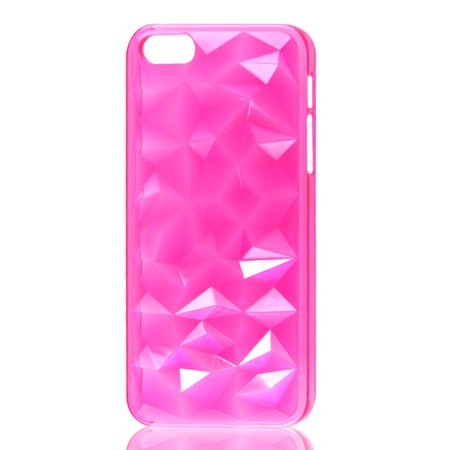 Unique Bargains Hot Pink 3D Water Cube Hard Back Case Cover for Apple iPhone 5 5G 5th