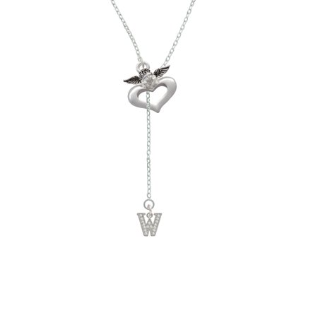 Small Crystal Initial   W   Guardian Angel Lariat Necklace