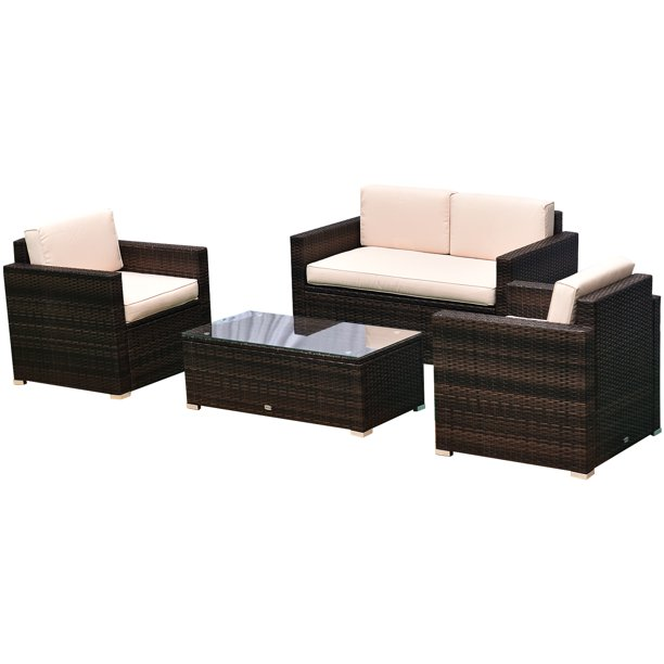 Outsunny 4 Pieces Outdoor Wicker Patio Sofa Set, Rattan Conversation Furniture Set with Cushions and Coffee Table, Brown/Beige