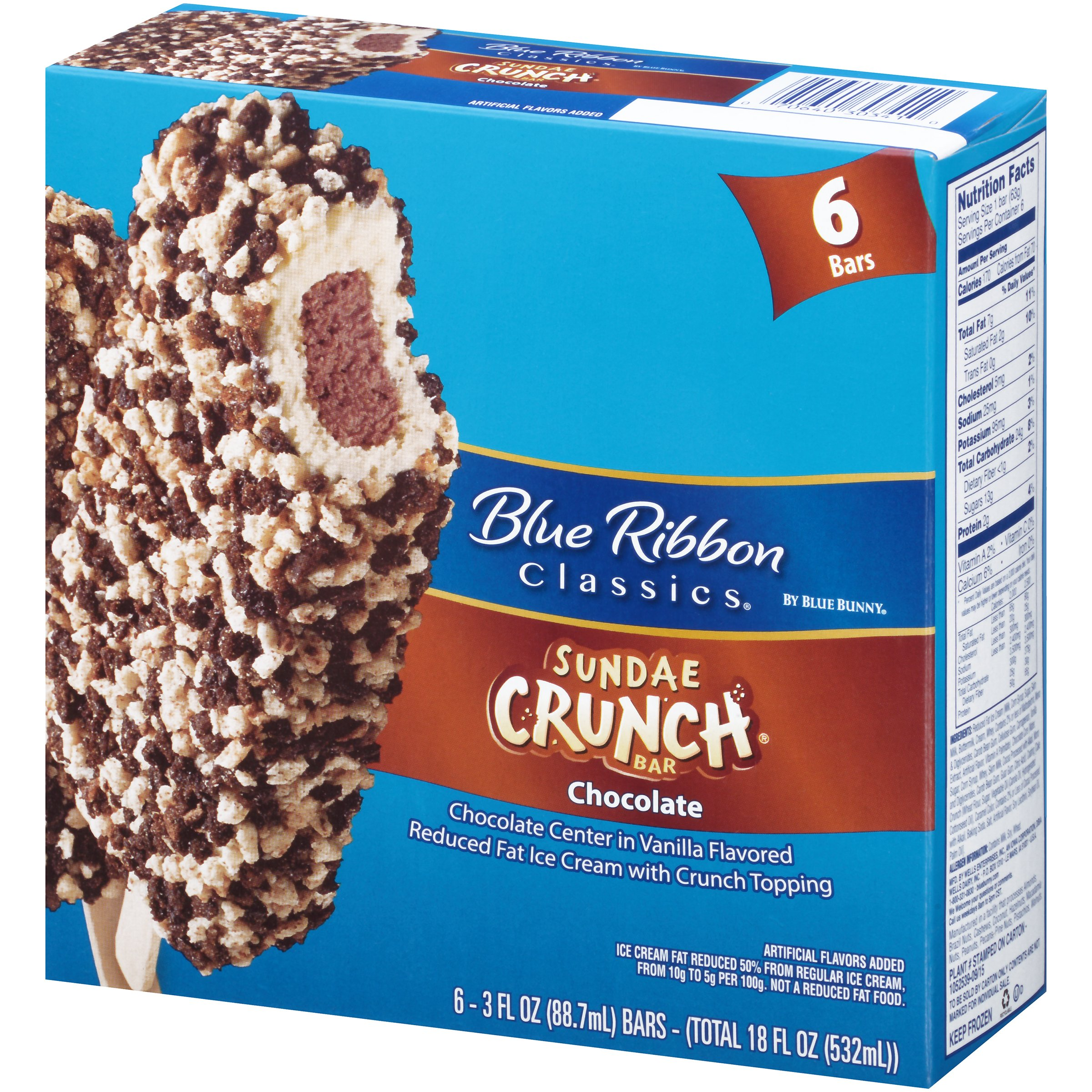 Blue Bunny Frozen Sundae Crunch Bars Chocolate 3.0 oz 6 ct Carton ...