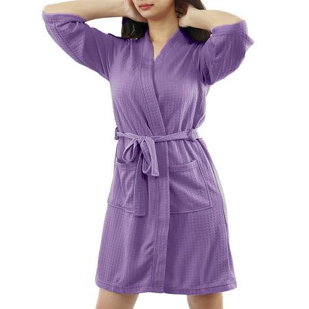 Women's Turkish Cotton Lightweight Soft Warm Kimono Short Robe M Purple Cotton Short Robe