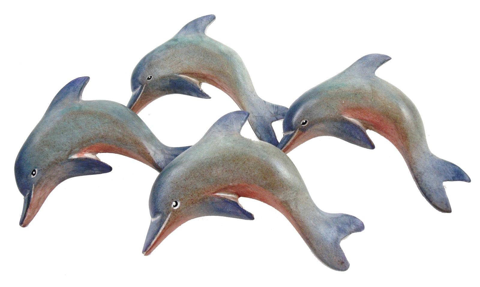 Nautical Ocean Marine Dolphin Napkin Rings Set Of 4 Carved Painted Wood Walmart Com Walmart Com