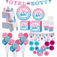 Girl or Boy Premium Gender Reveal Party Kit for 32 Guests, with Decorations