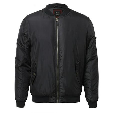 Men's Premium Lightweight Water Resistant Flight Bomber Jacket (Black Water Resistant Coat)