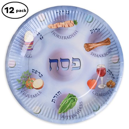 Paper plates for Passover, Paper Seder Plates, Passvoer plates for kids, Paper plates for Passover 12 plates in a pack By - Passover Seder Plate