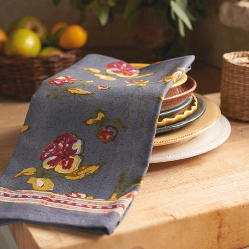 Couleur Nature Pansy Red Grey Tea Towel (Set of 3)