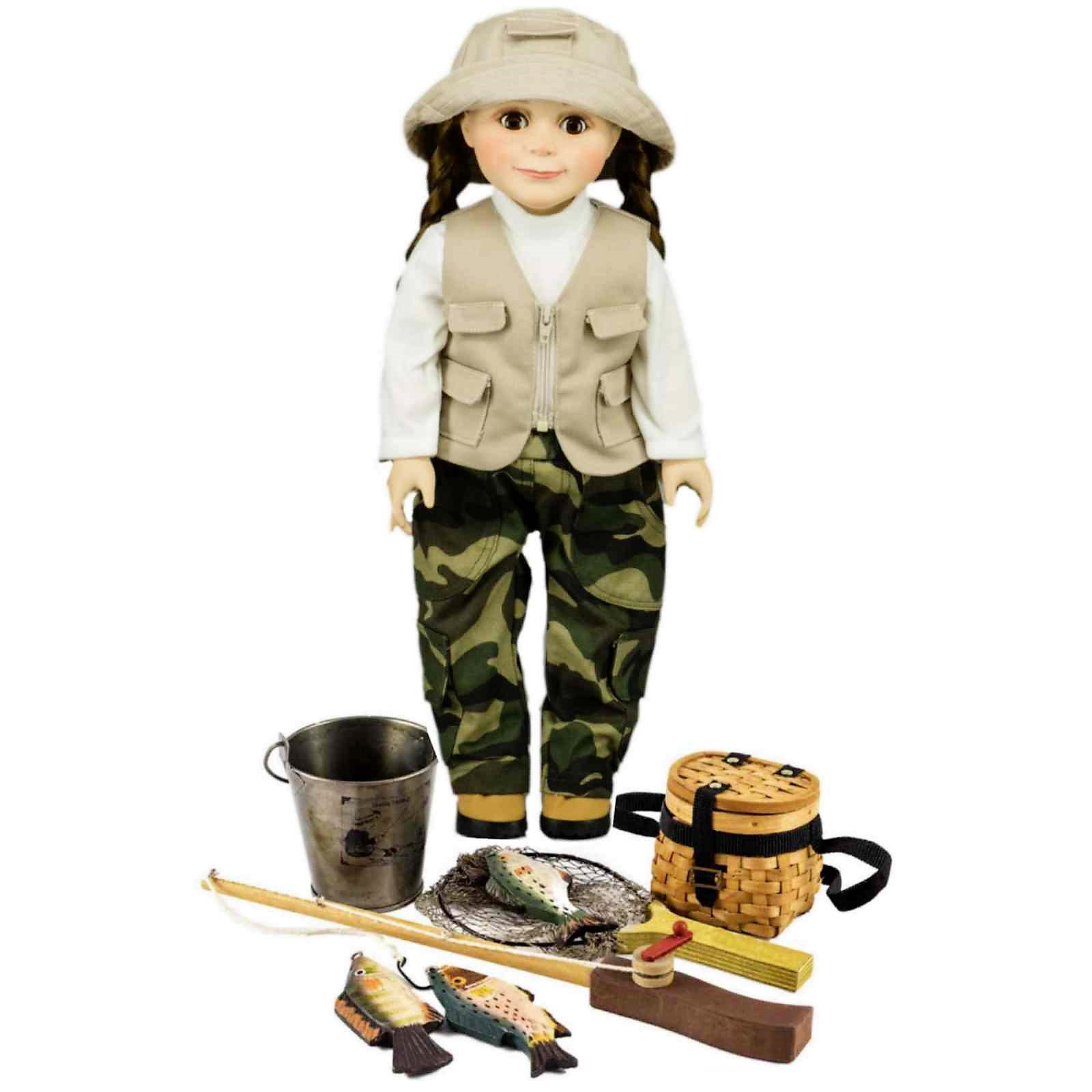 18 Inch Doll Complete 4 Pc Fishing Clothes +Pole, 3 Fish, Creel, Bucket & Net