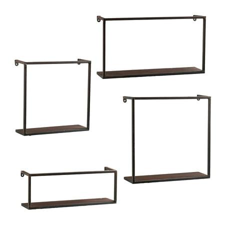Set of 4 Black Solid Rustic Contemporary Wall Shelves 18u0022